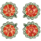 Celebrations Hand Painted Temple Design Terracotta Diyas (8 Cm X 7 Cm X 2 Cm, Green & Red, Pack Of 4)