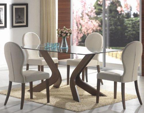Cheap 5pc Dining Set Glass Table Top Medium Walnut Finish (VF_Dinset-120361-120362)