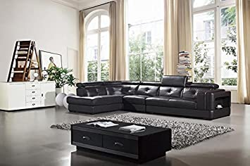 3pc Modern Contemporary Adjustable Sectional Leather Sofa Set - AM-L672-DC