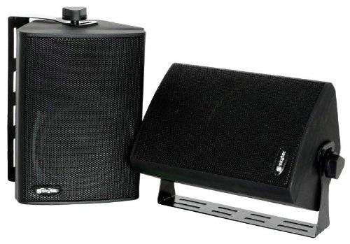 Stereo Kompakt LAUTSPRECHER PAAR + Wandhalter SCHWARZ