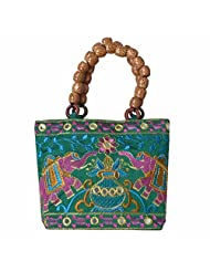 Angelfish Designer Elephant Embroidered Jaipur Handicrafted Mini Handbag Light Green