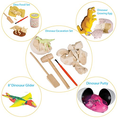 Discover the Dinosaur by ArtCreativityTM - 5 Fun Dinosaur projects - Includes Excavation Kits, Dig Set, Growing Egg, Dinosaur Glider, & Fossil Putty - Exciting Fun for Children - Best Unique Art Gift (Sea Devil Costume compare prices)