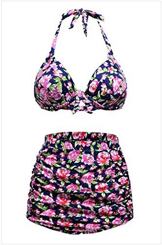 YeeATZ Print Navy Retro High Waist 2 Pieces Swimsuit(Floral,2XL) (Cult Headphones compare prices)
