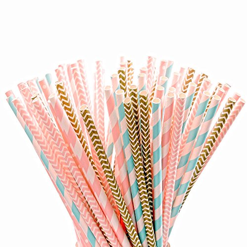 Outee 125 PCS Paper Straws, Pink Light Blue Gold Striped Party Straws Bulk Baby Shower Straws (Light Blue Coral compare prices)