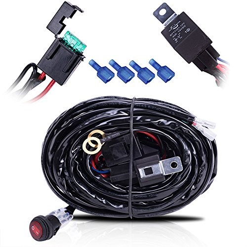 MICTUNING HD 300w LED Light Bar Wiring Harness 30A Fuse 40Amp Relay ON-OFF Waterproof Switch(1Lead 12ft 14AWG) (Polaris Light Bar Wire Harness compare prices)