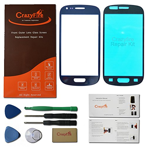 Crazyfire® Us Stock Free Shipping Pebble Blue Outer Lens Glass Screen Replacement Repair Kit For Samsung Galaxy S3 Mini I8190+Adhesive+Tools+Crazyfire Packing Box+Crazyfire Instruction Manual