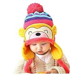 Multifit Kids Cute Cartoon Monkey Winter Velvet Hat Toddler Warm Thicken Wool Cap(Rose Red)
