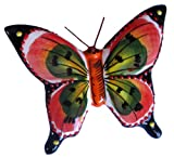 Large Ceramic Butterfly Wall Hanger (Salmon) - Hand Painted From Spain