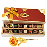 Precious Pralines Chocolates With 24k Gold Plated Rose - Chocholik Belgium Chocolates