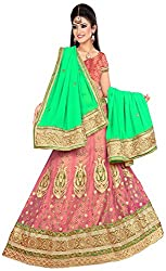 Jay Ambe Creation Women's Viscose Dress Material(dno110D_Green & Pink_Free Size)