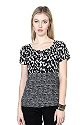 Van Heusen Womens Body Blouse Shirt (VWTS515D01206Short Sleeve_White With Black_S)