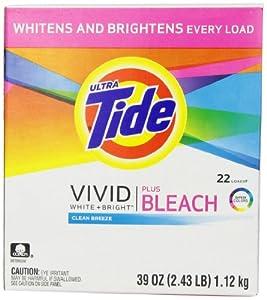 Tide Ultra Vivid White Plus Bright Plus Bleach Laundry Detergent Powder, Clean Breeze Scent, 39 Ounce