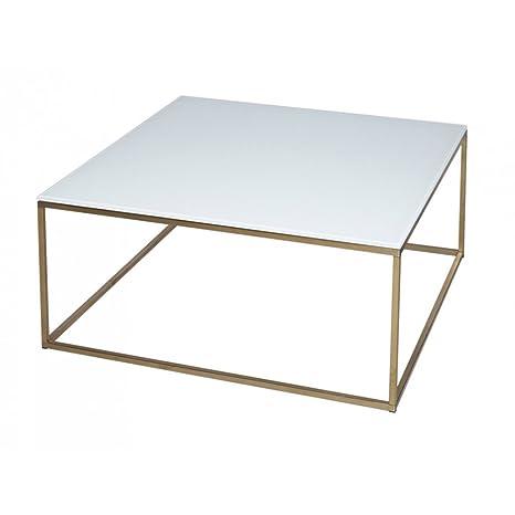 Gillmore Space Cristal blanco y mesa de centro cuadrada de oro Metal contemporáneo