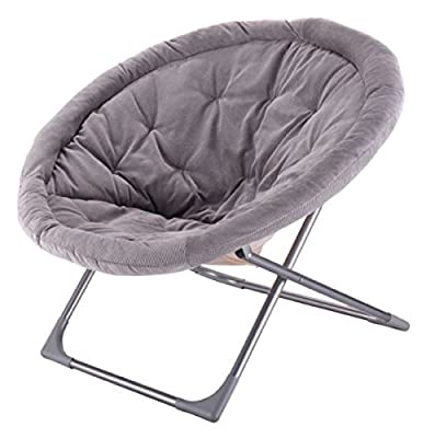 Oversized Large Spacious Resting Space Durable, Beautiful And Professional Design. Folding Saucer Moon Chair Corduroy Round Seat Living Room ,Gray