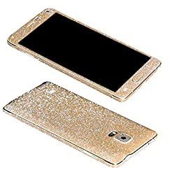 Dreams Mall(TM)Bling Glitter Crystal Diamond Whole Body Protector Film Sticker for Samsung Galaxy Note 4-Champagne