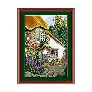 Brigantia Needlework Devon Cottage Tapestry Picture Kit in Tent Stitch