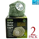 2 Solar Rock Lights - Sensor Activated - Bright White LED Light - Great for Borders, Beds, Plant Pots or Patio