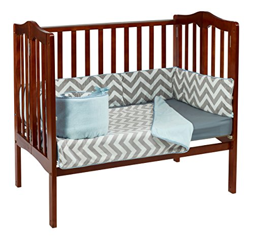 Baby Doll Minky Chevron Port-A-Crib Bedding, Blue