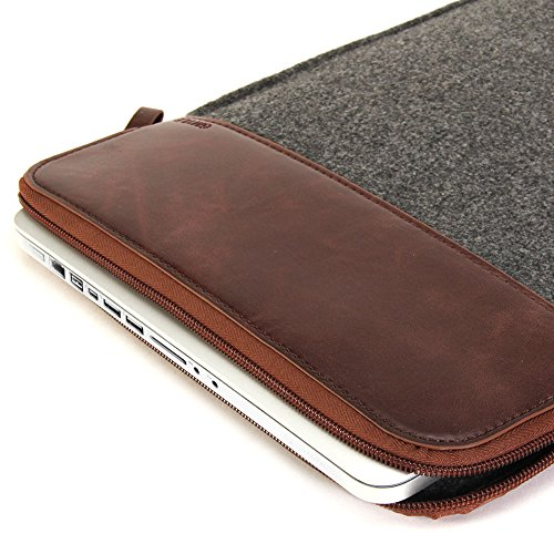 MacBook Pro 15 Sleeve, GMYLE Sleeve Felt for MacBook Pro 15 - Dark Grey & Brown Soft Sleeve Bag Case Cover