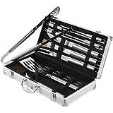 VonShef 18 Piece Stainless Steel BBQ Utensil Set + FREE Aluminium Carry Case