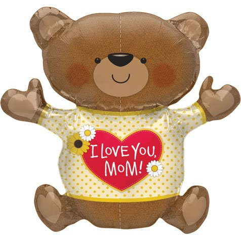 "Love You Mom Teddy Bear Shape 43"" Mylar Foil Balloon"