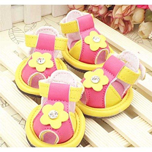 Sandali scarpe cane animali domestici sandali sub-primavera ed estate cane barboncino estivi anti-slittamento fornisce,spell-colore giallo-huang Girasole 2 il codice