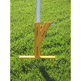 The Original Umbrella Stand - Use Anywhere, Sand or Grass, Easy to Use, Yellow with Thumbscrews