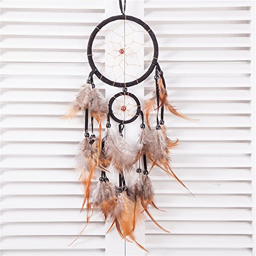 "18"" Traditional Black Dream Catcher with Feathers Wall or Car Hanging Ornament 2 Circles"