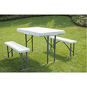 ghp white plastic portable utility folding picnic table bench set patio lawn. Black Bedroom Furniture Sets. Home Design Ideas