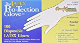 Disposable Latex Gloves, Powder Free Size Large, 100 gloves per box