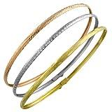 10 Karat Tri-Color Gold Diamond-Cut 3 mm Slip-On Bangles (Set of 3)