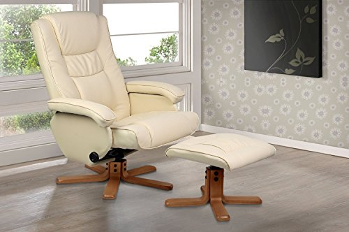 Cream white leather finish reclining swivel remote control electric massage chair
