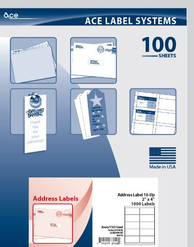 Ace Label Shipping & Mailing Labels for Laser and Inkjet Printer, Avery 5163 Sized, 4 x 2 Inches, Pressure-Sensitive Labels, White, 100 Sheets, 10 per Sheet, 37600L