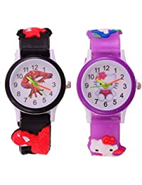 S S TRADERS -Purple Kitty Analog Watch And Black Spiderman Analog Watches For Kids- Best Birth Day Return - Kids...