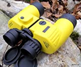 OPTIMUS UK stunning 7X50m floating marine water and shockproof binoculars with conventional range finder and latest digital compass, with HI-VIZ armourflex covering