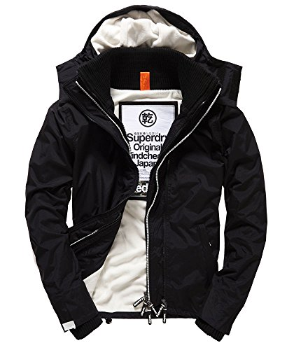 [�����ѡ��ɥ饤] Superdry Pop Zip Hooded Arctic Windcheater Jacket Black/Ecru ���㥱�å� �� x �� [�¹�͢����] M