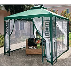 pavillon aus metall verziert 3x3 garten gr n polyester oben. Black Bedroom Furniture Sets. Home Design Ideas