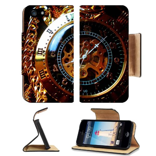 Steampunk Clock Work Pocket Watch Apple iPhone 5 / 5S Flip Cover Case with Card Holder Customized Made to Order Support Ready Premium Deluxe Pu Leather 5 3/16 inch (132mm) x 2 11/16 inch (68mm) x 9/16 inch (14mm) MSD iPhone 5 Professional Cases Touch Accessories Graphic Covers Designed Model Folio Sleeve HD Template Designed Wallpaper Photo Jacket Wifi 16gb 32gb 64gb Luxury Protector Wireless Cellphone Cell Phone