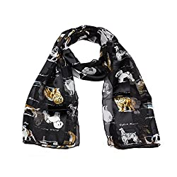 Mytoptrendz® Assorted Dog Breed Printed Black Chiffon Satin Stripe Soft Feel Women's Scarf Dress Scarf Neck scarf
