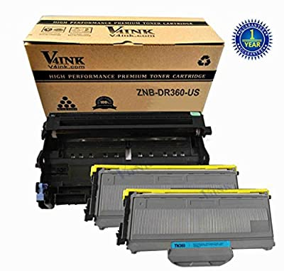 (1 Drum + 2 Toner) V4INK ® New Compatible Replacement for Brother DR360 + TN360(2 Toner, 1 Drum, 3 Pack)for Printer HL-2140/2150/2170Series/DCP-7030/7040Series/MFC-7340/7440/7840 Series