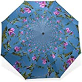 BAIHUISHOP 3 Folding Parasol Sun Protection Anti-UV Sun And Rain Umbrellas Flower Pattern Windproof Tested Compact...