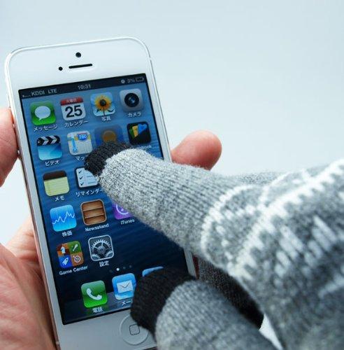 スマートフォン IPhone 手袋 タッチパネル対応 雪柄 スマホ手袋