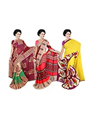 Fancy Georgette Printed Sarees With Blouse Exclusive Combo Pack From Garg Fashion Combo-214