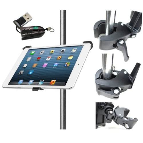 """Chargercity Dedicated Apple Ipad Air (Retina) Cradle Holder With 360° Swivel Adjustment 1/4""""-20 Connection With Dual Joint Multi Adjustable Bar/Pole Clamp Mount For Tripod Monopod Music Mic Microphone Stand, Golf Cart, Stroller (Include Free Chargercity M front-280885"""