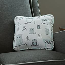 Carousel Designs Mist and Gray Owls Decorative Pillow Square