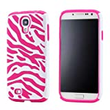 GEARONIC White Pink Dual Layer Flex Zebra Hybrid Soft Silicone Hard PC Case Back Cover for Samsung Galaxy S4 i9500