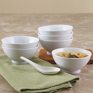 BIA Cordon Bleu 10 ounce White Porcelain Rice Bowl - Set of 6