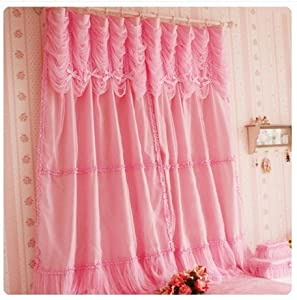 Amazon.com - Diaidi Rural Romantic Pink Window Curtain, Princess ...