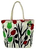 Neska Moda Swachh Bharat Women's Floral Green Red Orange Jute Bag Shoulder Bag - Made In INDIA