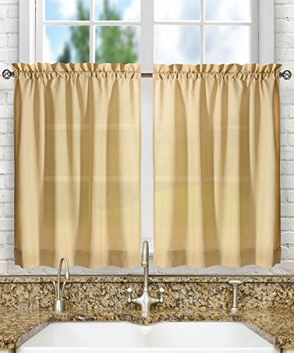 "Ellis Curtain Stacey Tailored Tier Pair Curtains, 56"" x 24"", Almond"